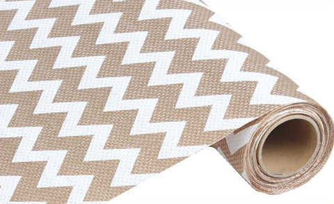 "19"" White and Beige Wide Chevron Fabric Roll - 19"" x 5 yds - (RG702827)"
