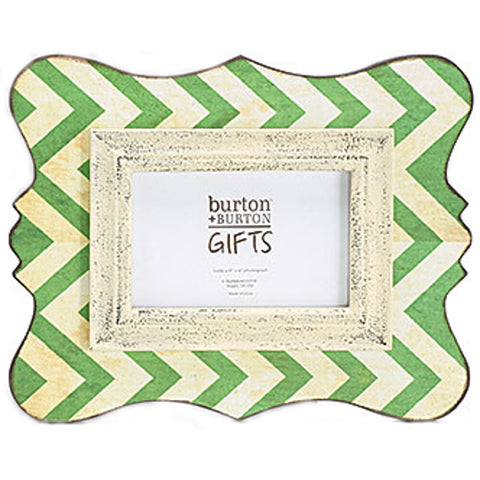 "Home Decor-12"" Wooden Chevron Picture Frame - Rustic Green - 4x6-Sassy Chic Boutique - 1"