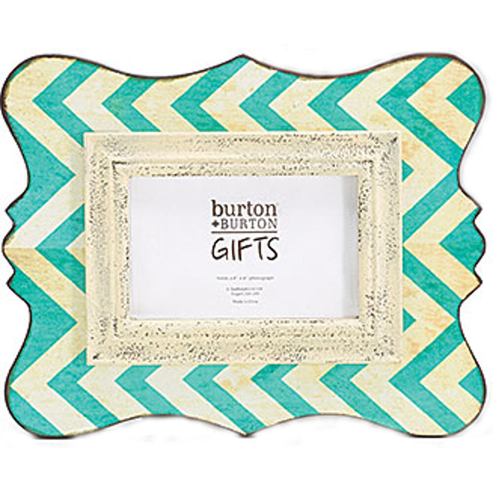 "Home Decor-12"" Wooden Chevron Picture Frame - Rustic Turquoise - 4x6-Sassy Chic Boutique - 1"