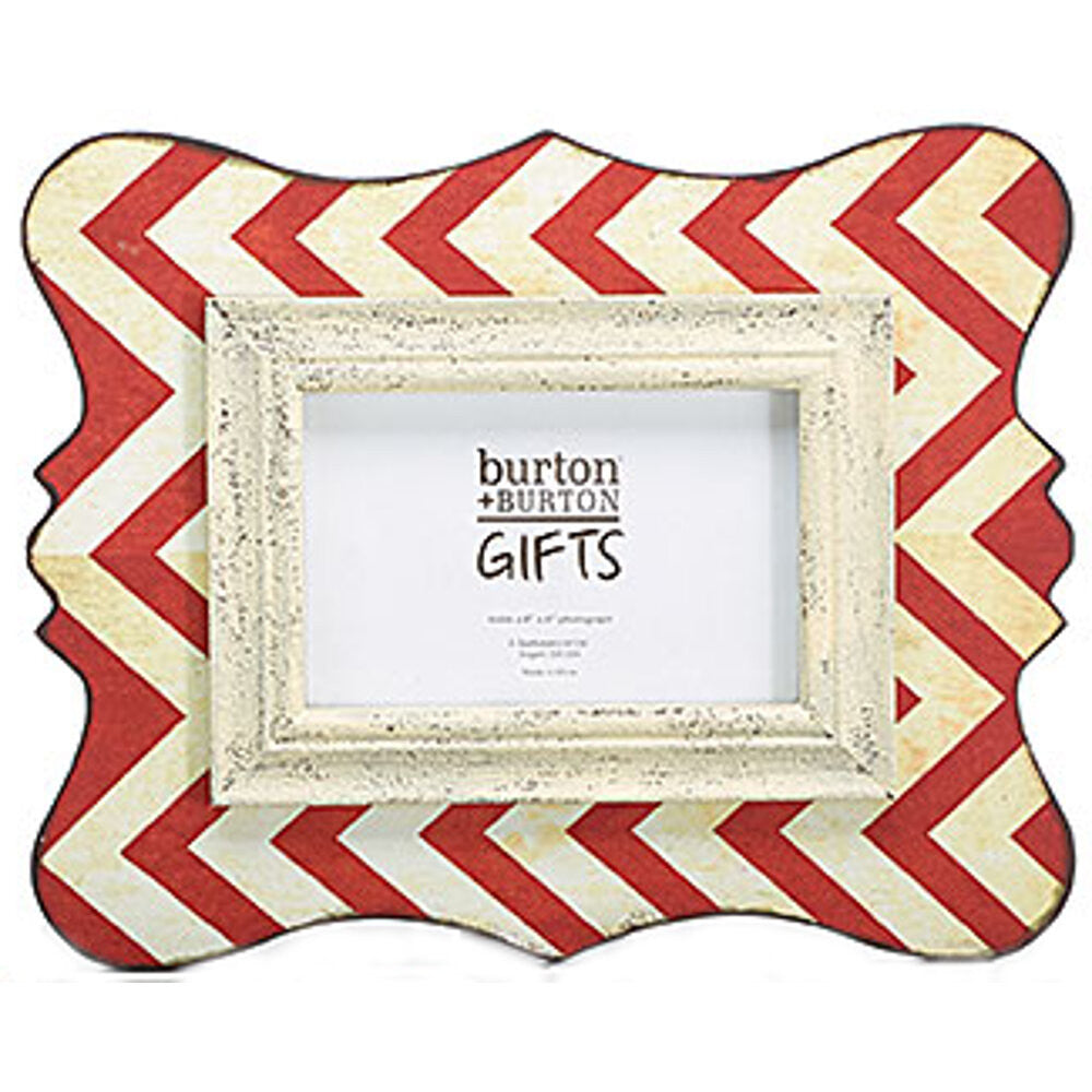 "Home Decor-12"" Wooden Chevron Picture Frame - Rustic Red - 4x6-Sassy Chic Boutique - 1"