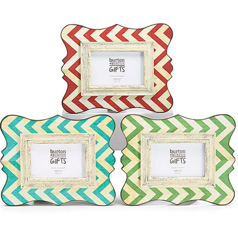 "Home Decor-12"" Wooden Chevron Picture Frame - Rustic Turquoise - 4x6-Sassy Chic Boutique - 2"