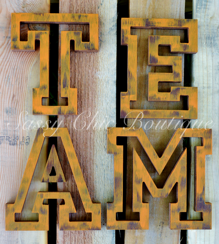 Custom Distressed Wooden Letters - All Star Font
