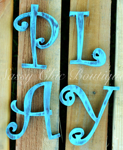 Custom Distressed Wooden Letters - Curlz Font