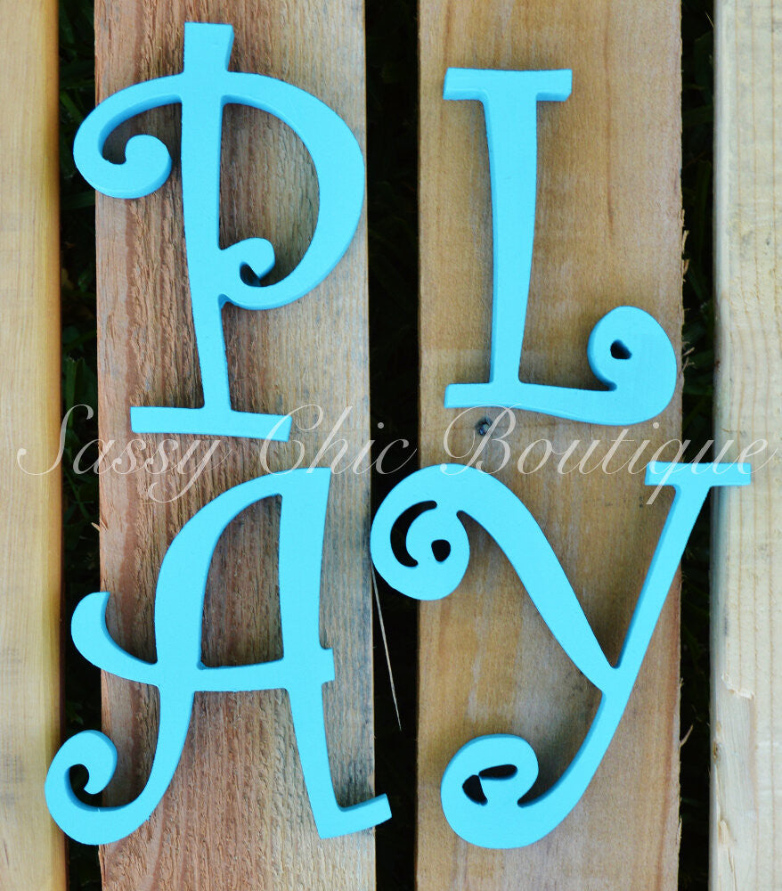 Wooden Numbers and Shapes-Custom Painted Wooden Numbers and Symbols - Curlz Font-Sassy Chic Boutique