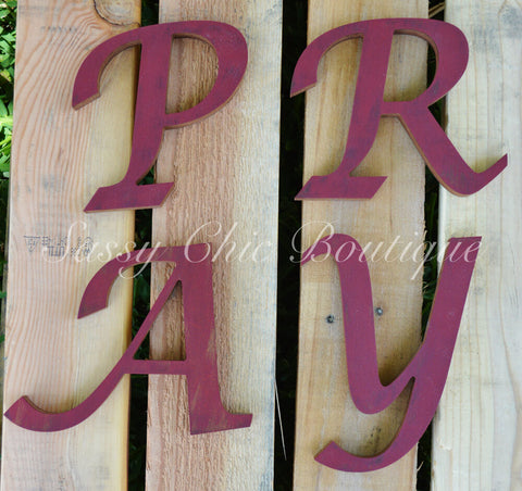 Custom Distressed Wooden Letters - Lucida Calligraphy Font