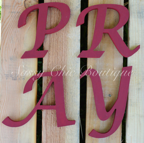 Custom Painted Wooden Letters - Lucida Calligraphy Font