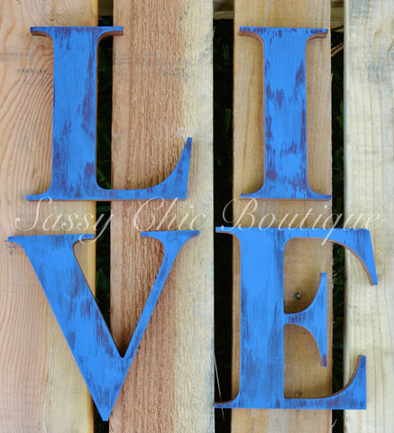 Custom Distressed Wooden Letters - Times Font