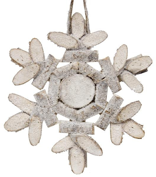 "Home Decor-Natural/Whitewash/Glttr 8.75""Dia Birch Slice Snowflake-Sassy Chic Boutique"
