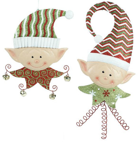 "Red/White/Lime/Emerald 2 Asst 16""-23""H Elf Head Wall Hanging"