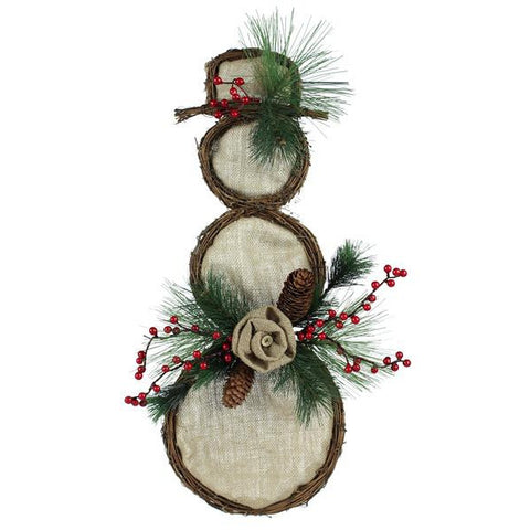 "Natural 24"" Grapevine Burlap Snowman"