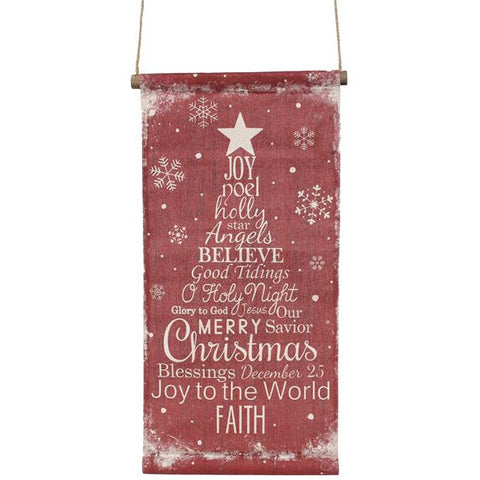 "Red/White 27.5""L Christmas Word Tree Banner"