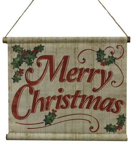 "Natural/Red/Green 21.25""W Merry Christmas Banner"