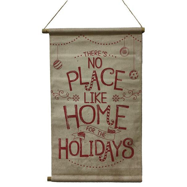 "Wreaths and Door Decor-Red On Natural 32""L Home For The Holidays Banner-Sassy Chic Boutique"
