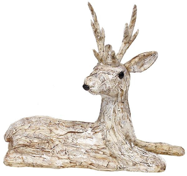 "Home Decor-Natural Birch/White Brush 11.5""H Paper Birch Lying Reindeer-Sassy Chic Boutique"