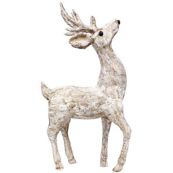 "Home Decor-Natural Birch/White Brush 16.75""H Paper Birch Standing Reindeer-Sassy Chic Boutique"