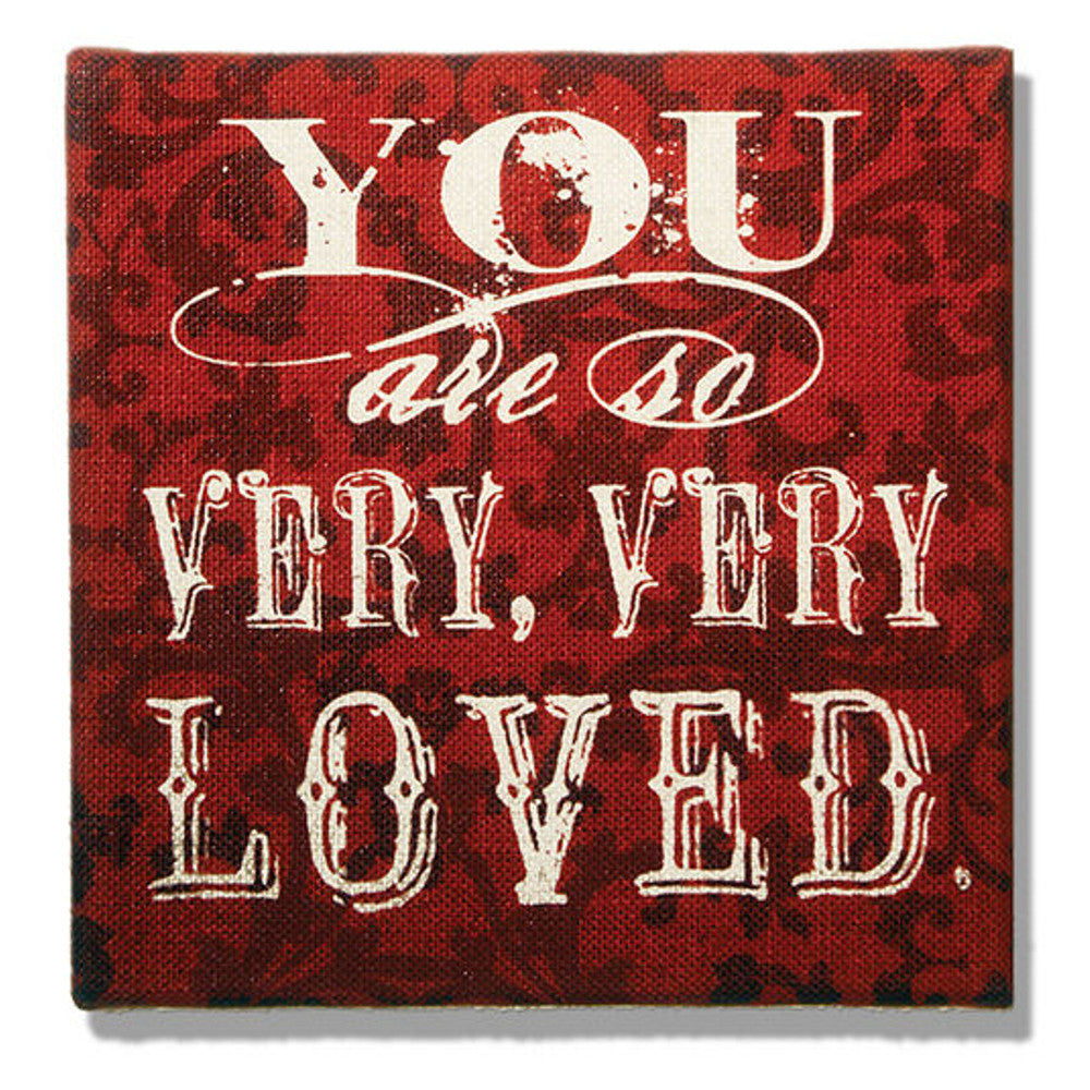 Home Decor-You Are So Very Loved Red Damask Burlap Plaque-Sassy Chic Boutique