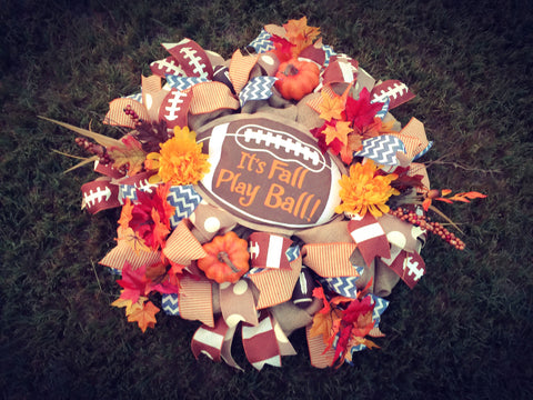 "Fall Ball Extravaganza Wreath 28"" **Price includes shipping"