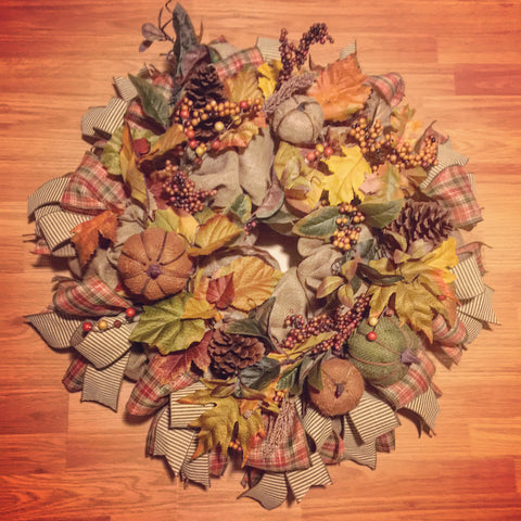 "Fall Leaves, Pine Cones, Pumpkins, and Berries 28"" Wreath **Shipping included"