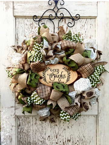"Fall ""Give Thanks"" Deer Wreath **Price includes shipping**"