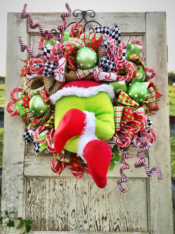 Wreaths and Door Decor-Christmas Monster Whimsical Wreath **FREE SHIPPING**-Sassy Chic Boutique - 1