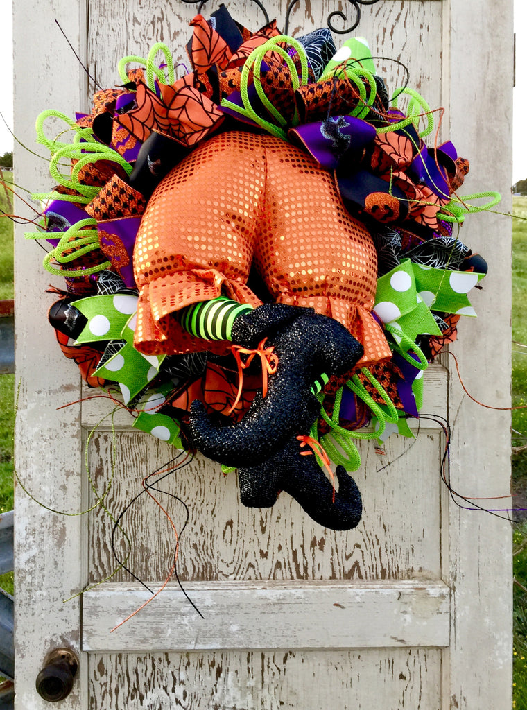 Wreaths and Door Decor-Halloween Orange Witch Butt Wreath **Price includes shipping**-Sassy Chic Boutique - 1