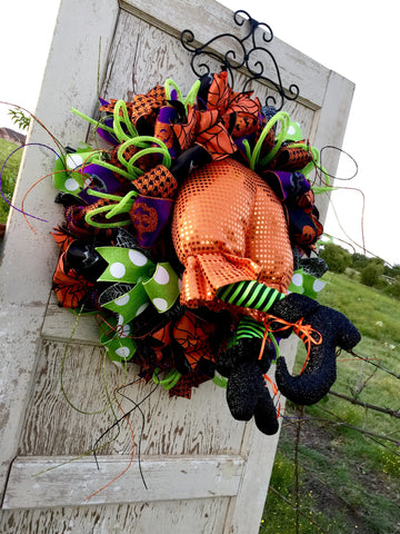 Wreaths and Door Decor-Halloween Orange Witch Butt Wreath **Price includes shipping**-Sassy Chic Boutique - 2