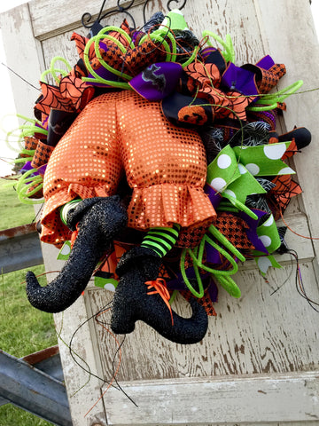 Wreaths and Door Decor-Halloween Orange Witch Butt Wreath **Price includes shipping**-Sassy Chic Boutique - 3