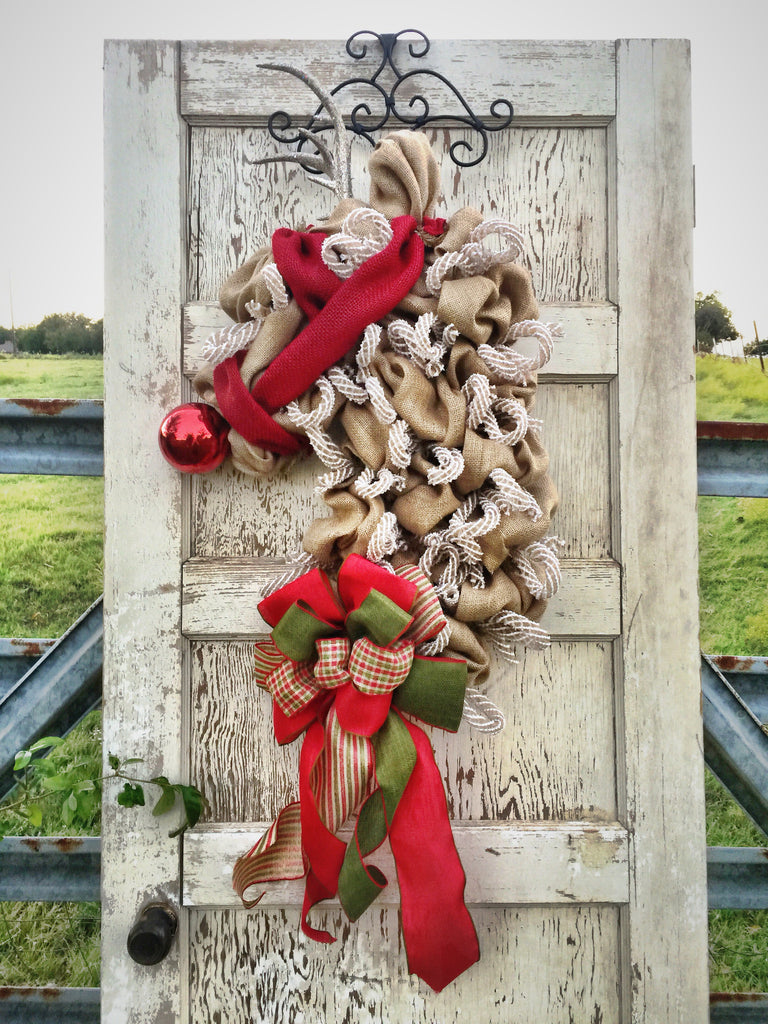 Wreaths and Door Decor-The Elegant Reindeer Burlap Christmas Wreath **FREE SHIPPING**-Sassy Chic Boutique - 1