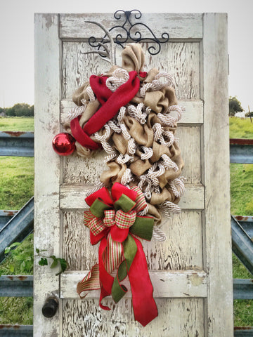 The Elegant Reindeer Burlap Christmas Wreath **FREE SHIPPING**