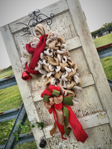 Wreaths and Door Decor-The Elegant Reindeer Burlap Christmas Wreath **FREE SHIPPING**-Sassy Chic Boutique - 3