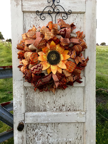 Wreaths and Door Decor-Fall Sunflower Jubilee Wreath **Price includes shipping**-Sassy Chic Boutique - 1