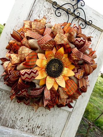Wreaths and Door Decor-Fall Sunflower Jubilee Wreath **Price includes shipping**-Sassy Chic Boutique - 2