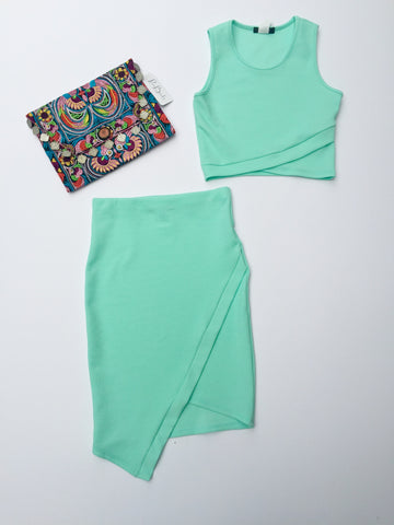 Aqua Asymmetrical Skirt