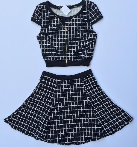 Grid Print Crop Top