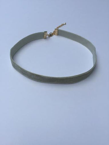Light Olive Velvet Choker