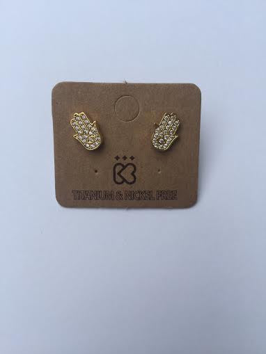 Gold Hamsa Jewel Stud Earrings