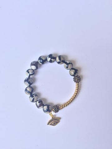 Evil Eye Black Gold Stone Bracelet