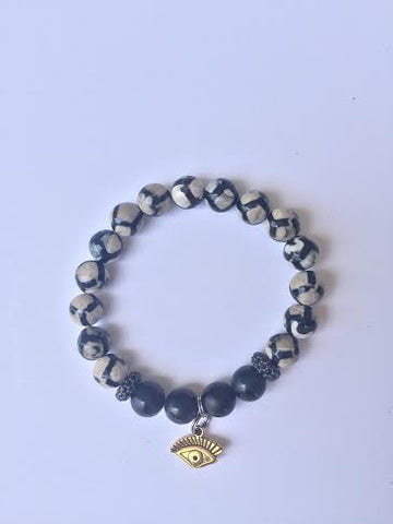 Evil Eye Black Bead and Stone Bracelet