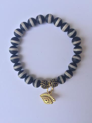 Evil Eye Double Black/Gold Stone