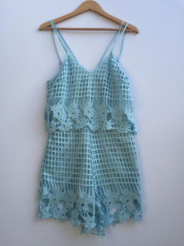 Lace Grid Romper