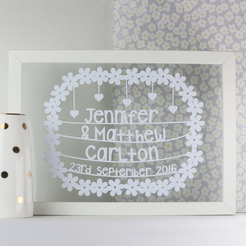 Wedding/Anniversary Daisy Personalised Cut Out Frame