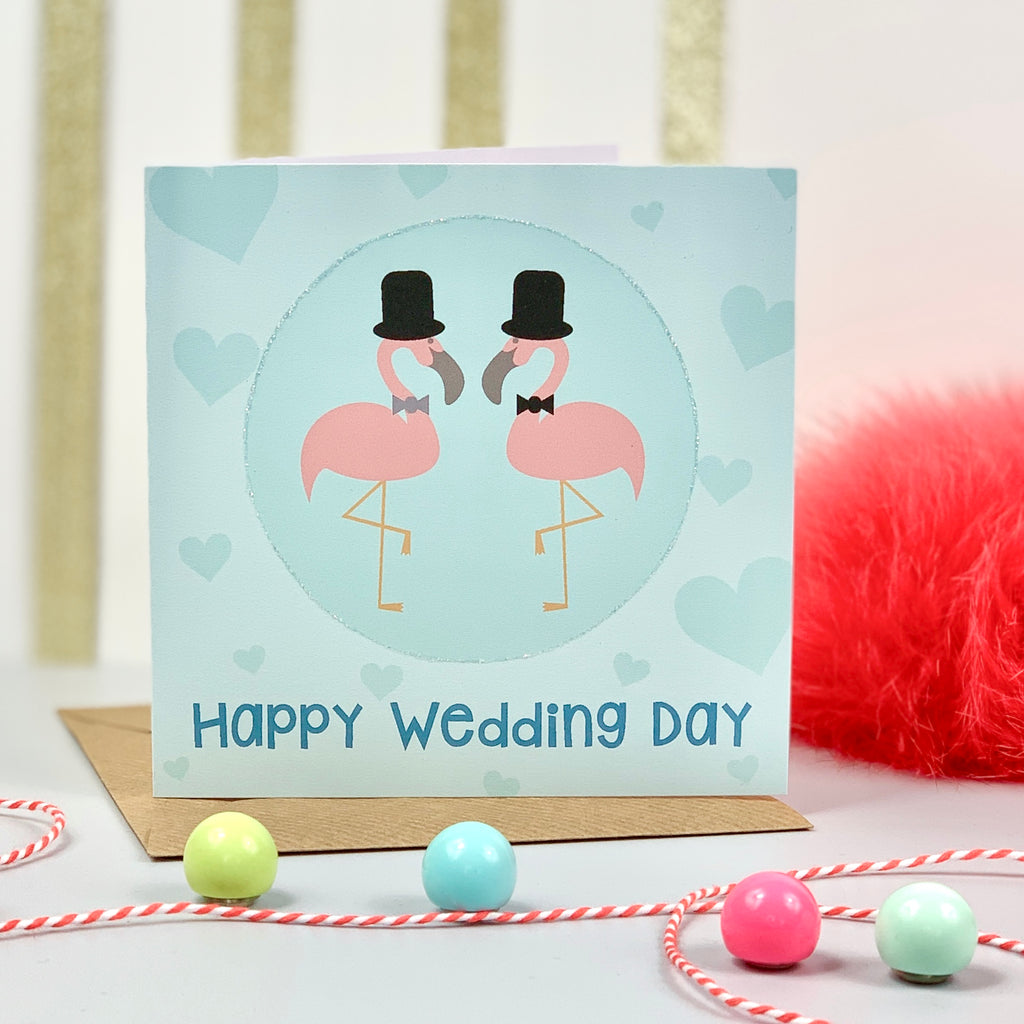 Happy Wedding Day Mr & Mr Flamingo Card