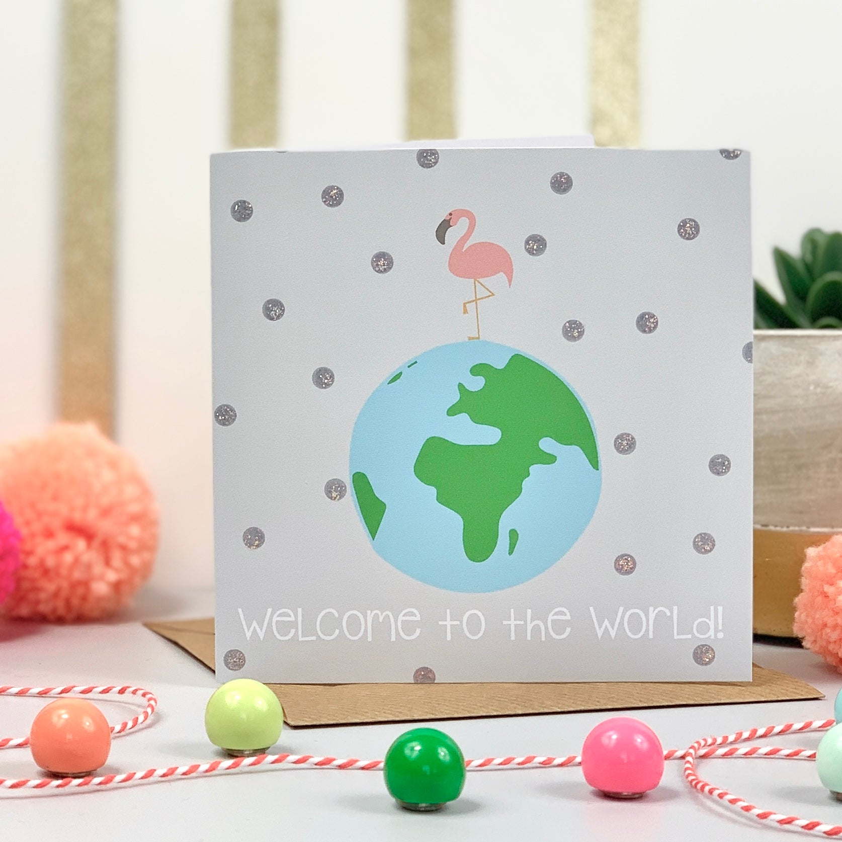 Welcome To The World New Baby Flamingo Card
