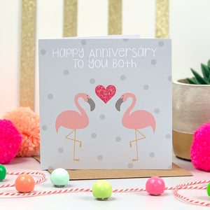 Happy Anniversary To You Both Flamingo Card
