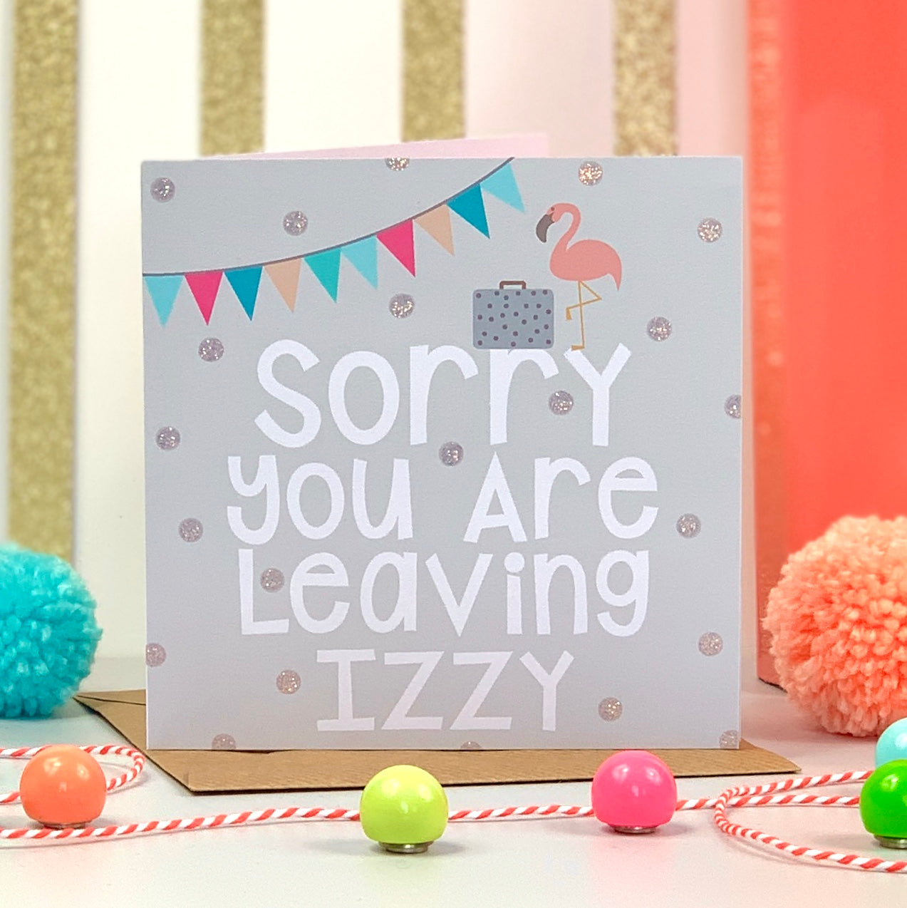 Sorry You Are Leaving Flamingo Card