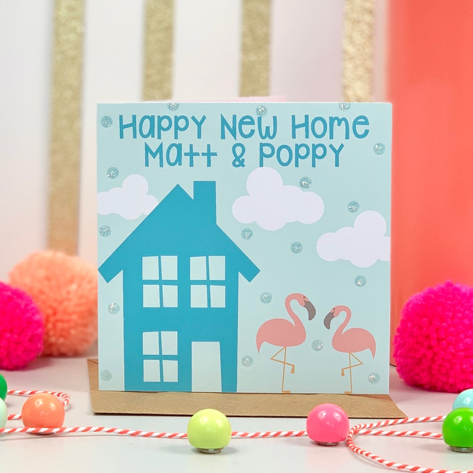 New Home Blue Flamingo Card