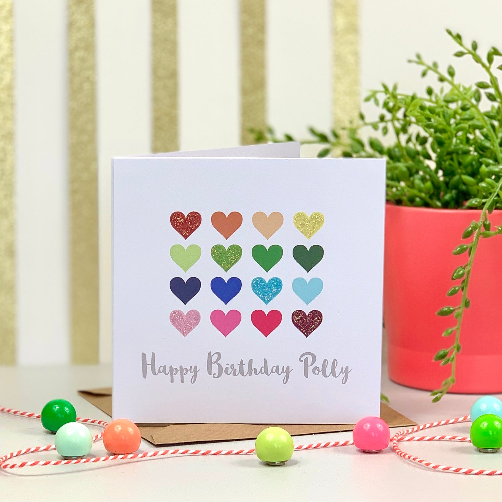 Happy Birthday Glitter Hearts Card