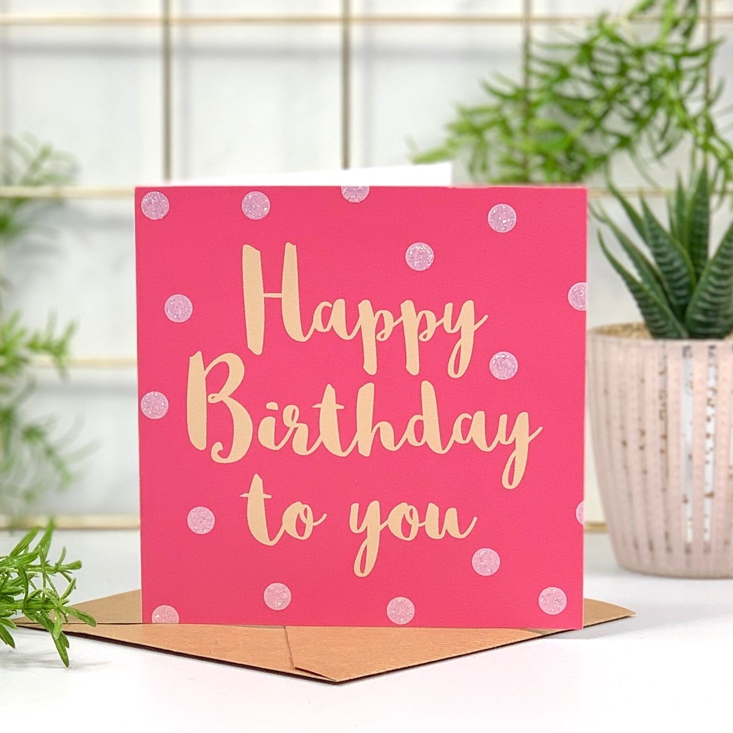 Happy Birthday Pink and Peach Spots Card