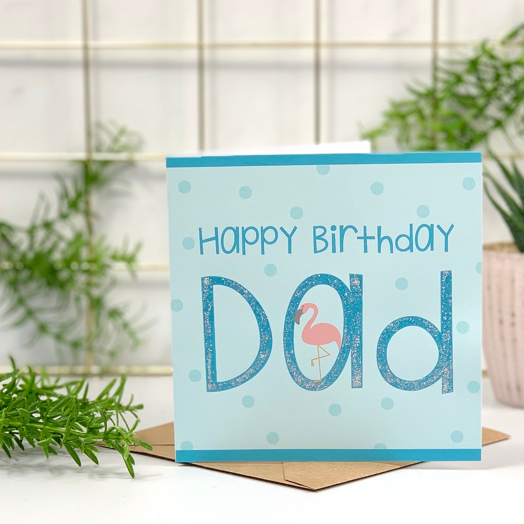Happy Birthday Dad Flamingo Card