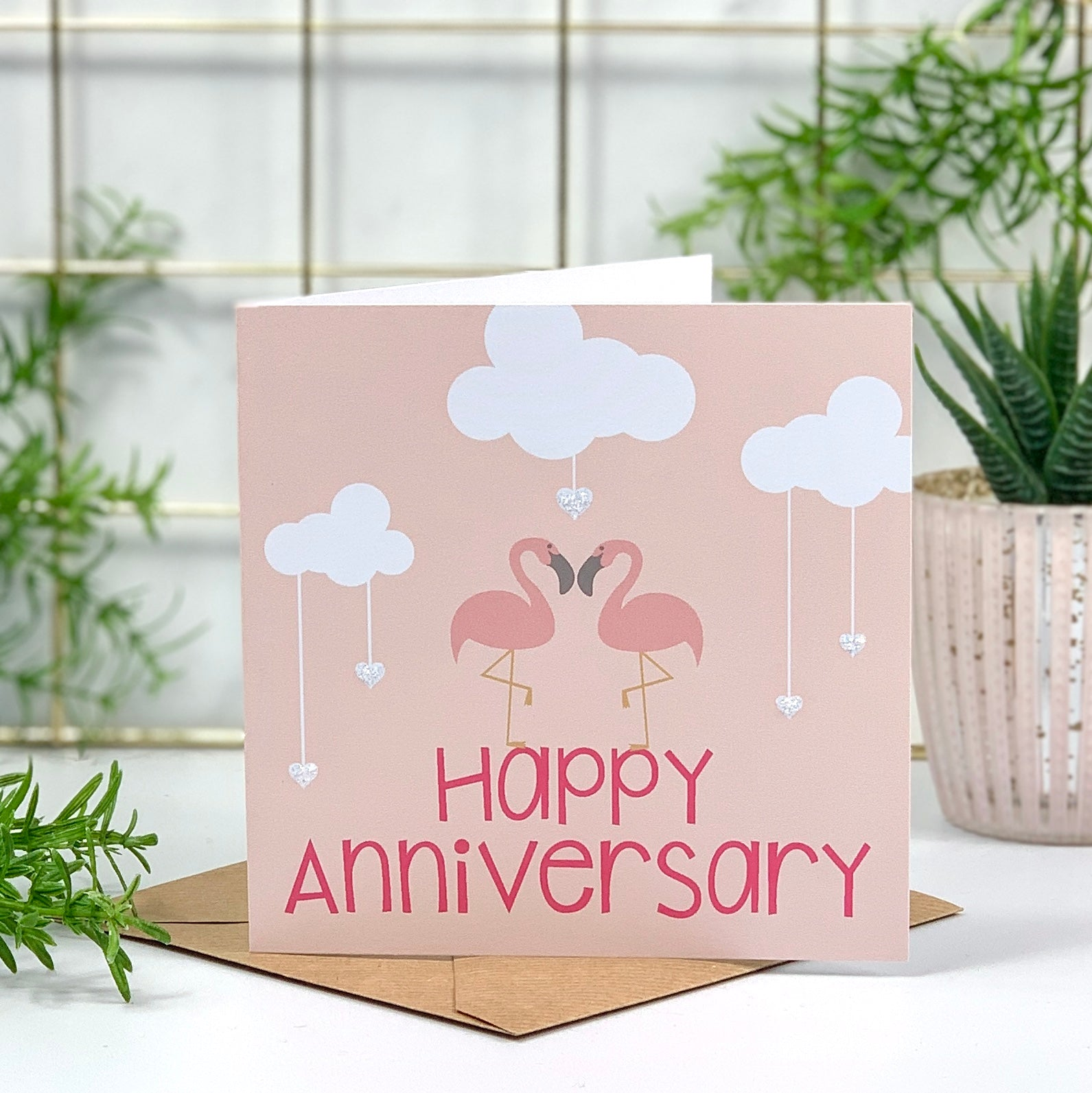 Happy Anniversary Flamingo Card